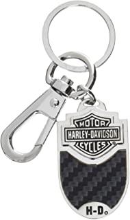 HARLEY-DAVIDSON Bar & Shield 碳纤维乙烯基镶嵌钥匙链 Oval 黑色 HDKCF-Series
