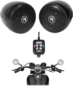 Rockville rocknride (2) RockNRide 3 英寸供电蓝牙金属摩托车车把扬声器