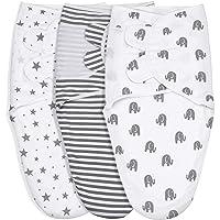 GLLQUEN Baby Boy Girl 襁褓毯 灰色大象星星和条纹,3 件装包裹套装,新生儿可调节襁褓睡袋,0-3…
