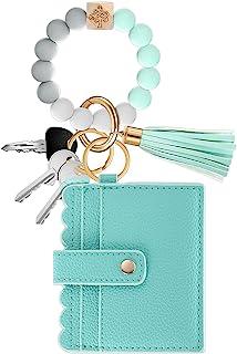多功能硅胶钥匙环手链,女式串珠手镯钥匙链腕带人造皮革流苏带卡片夹钱包钥匙圈,适合女士女孩母亲节使用
