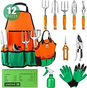 Ukoke 花园工具套装 12件套铝制手动工具箱 花园帆布口袋围裙 户外工具