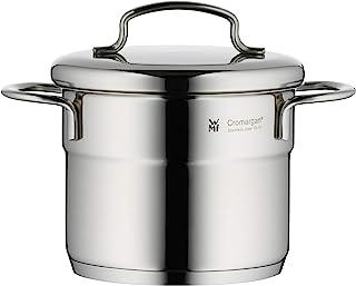 WMF 福腾宝 1升迷你可堆叠锅,带倾倒边缘,直接大约12厘米,带金属锅盖,Cromargan不锈钢拉丝,适用于所有炉灶包括电磁炉,适用于洗碗机