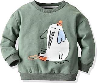 幼童女婴男孩字母印花毛衣长袖套头运动衫上衣秋冬户外服装(绿象,4-5 岁)