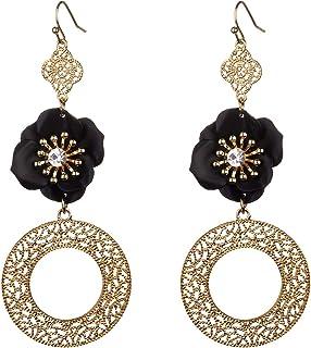 Nicole Miller 纽约金银丝镂空图案圆形黑色花朵装饰金色吊坠耳环