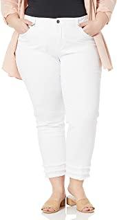 SLIM-SATION 女式加大码 Contour West 5 口袋纯色修身九分牛仔裤,多排流苏下摆