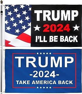 2 件 Donald Trump for President 2024 Take America Back I'll Be Back 旗帜横幅 3x5 英尺,带两个黄铜垫圈