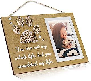 宠物纪念礼物 - 狗和猫爪印花同情木制相框 适合宠物丢失,你不是我的整个生命 优雅标志 可爱的纪念品相框 作为失去狗或猫