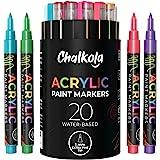 丙烯酸顏料筆,適用于巖石繪畫、石頭、陶瓷、玻璃、木質、帆布 - 20 種顏色一套,細尖水基油漆記號筆 - 1 毫米
