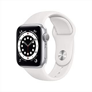 新款 Apple Watch 系列 6 (GPS,40mm) - 银色铝制外壳带白色运动表带