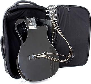 Journey Instruments 碳纤维旅行吉他 – OF660 旅行者原声吉他,带可折叠*系统 – 便携式背包盒(高光泽黑色)