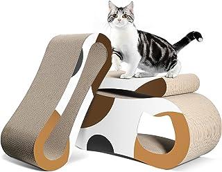 ComSaf 猫抓板纸板 3 合 1 抓板床 瓦楞刮板 猫训练玩具 适用于大型猫和猫 家具保护 耐用可复刻