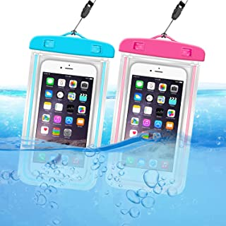 ORIbox 通用防水袋手机干燥袋带夜光装饰保护套适用于 iPhone 12 11 Pro Max XS Max XR X 8 7 6S Plus SE 2020 12 迷你 Galaxy Pixel,蓝色和玫瑰红色(2 件装)