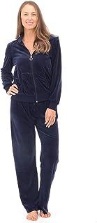Patricia 女式超柔软丝绒运动服连帽衫 拉链上衣深蓝色 Small
