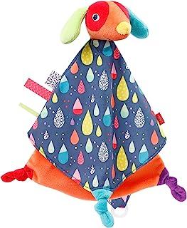 Fehn 055139 狗狗安抚巾,豪华 COLOR Friends – 游戏相机,入睡辅助和毛绒动物玩偶安抚巾,带奶嘴固定,适用于新生儿和幼儿