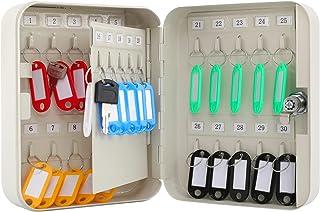 KYODOLED 钥匙柜壁挂支架,锁钥匙收纳箱,带钥匙锁,钥匙管理,带钥匙锁,30 个钥匙钩和标签钥匙实验室,7.9 x 6.3 x 3 英寸(约 20 x 16 x 7.6 厘米)白色