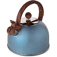 茶壶,VONIKI 2.5 夸脱茶壶,炉灶口哨茶壶不锈钢茶壶,适用于炉灶、口哨茶壶(浅蓝色)