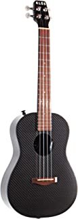 KLOS 黑色碳纤维声学电动尤克里里琴套装,带琴包、防雨罩、肩带、皮带别针等