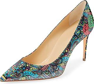 Odernee 女式高跟鞋尖头 3.3 英寸(约 8.4 厘米)细高跟独特图案女式新娘时尚正装鞋
