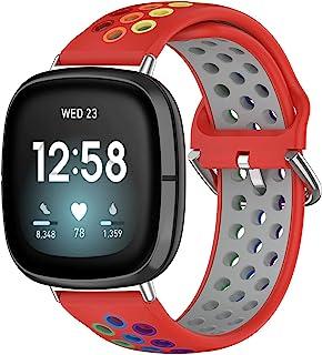 Pailebi 彩虹表带兼容 Fitbit Versa 3/Fitbit Sense 和 Fitbit Versa 2/Versa Lite /Versa SE,彩色软硅胶运动表带替换 Fitbit Versa 3/Fitbit Sense 智...
