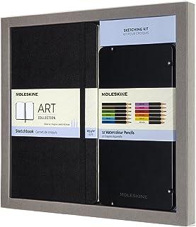 Moleskine 绘图套件-素描本和12支水彩笔-硬皮普通纸笔记本,大号13 x 21 cm + 12种不同颜色的水彩笔