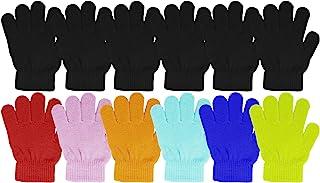 12 双儿童保暖冬季手套,弹性柔软舒适针织,可爱散装