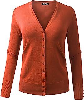 BH B.I.L.Y 美国女式 V 领系扣长袖柔软经典针织开衫