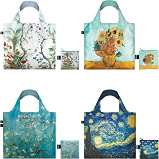 LOQI 博物馆收藏袋 4 件套 可重复使用袋子 Decor and Sunflowers 4 件套 A72390c