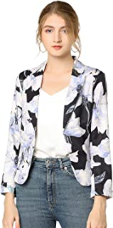 Allegra K 女式前开襟办公室裁剪花卉印花西装外套 黑色 X-Large