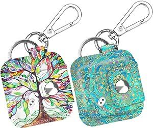 Fintie 瓷砖搭配/瓷砖运动/瓷砖风格箱登山扣钥匙链 [2 件装]防刮人造皮革保护套瓷砖配格和瓷砖 Pro 系列追踪器,防刮擦 Z- Love Tree + Shades of Blue