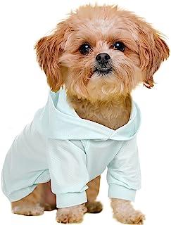 Gorsbark 狗狗连帽衬衫   夏季*宠物狗连帽衫   缓解**背心透气户外服装,适合中小型犬(蓝色,M 码)