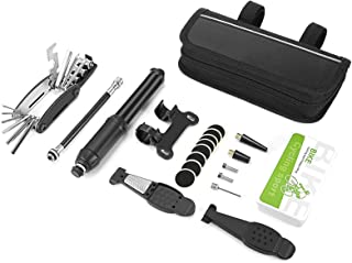 自行车轮胎维修套件,多功能自行车维修工具套装,包括迷你自行车泵 / 轮胎撬棒 / 轮胎补丁 / 固定支架和螺丝 / 充气阀 / 自行车马鞍包