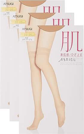 [ATSUGI] 丝袜 ASTIGU系列 裸肌感 膝上长〈3双套装〉女士 F04020