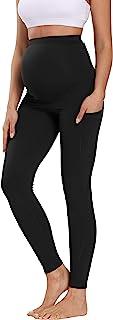 """V VOCNI 孕妇打底裤瑜伽裤*板 3D 剪裁拼色高腰 25 英寸(约 63.5 厘米)锻炼跑步孕妇紧身裤 25"""" Black -Pockets Cross Seams Large"""
