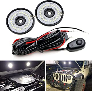 iJDMTOY (2) 22 二极管 2-1/4 英寸 LED 圆罩底,卡车床,货物区域照明照明套件,带继电器开关,通用适用于汽车卡车 SUV