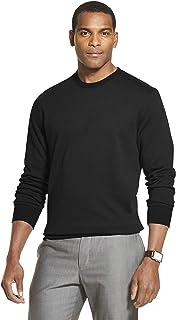 Van Heusen 男式长袖弹性羊毛拼色圆领套头衫 黑色//白色 XX-Large