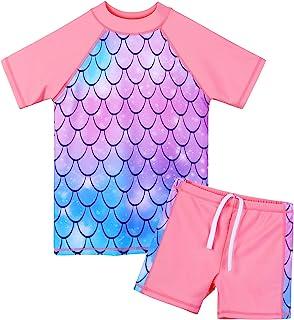 女孩两件套泳衣花卉 UPF 50+ *套装儿童泳衣