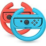 TalkWorks 任天堂开关方向盘控制器(2 只装) - 赛车游戏配件 Joy Con 控制器手柄适用于马里奥赛车,蓝…