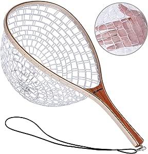 ODDSPRO 渔网,磁释放飞钓网,鱼降落网,带木框和软橡胶网,用于捕鱼和释放鳟鱼