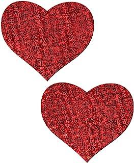 Love Pastease:Pastease o/s 红色闪光心形乳头乳贴