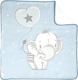 大象印花婴儿襁褓(80 x 80 厘米) 蓝色 Tejido rizo