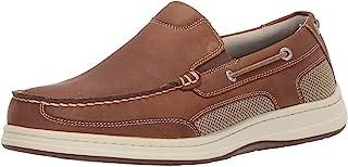 Dockers 男士 Tiller 皮革休闲一脚蹬乐福鞋船鞋带 NeverWet 灰褐色
