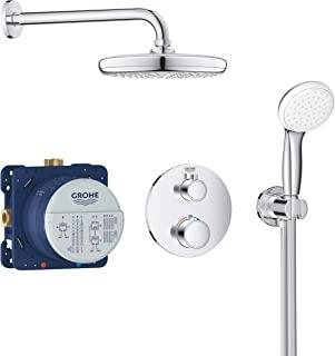 Grohe 高仪 Grohtherm 全套花洒淋浴系统(包括恒温器,Rapido SmartBox,顶部花洒,手持花洒,淋浴软管)镀铬,34727000