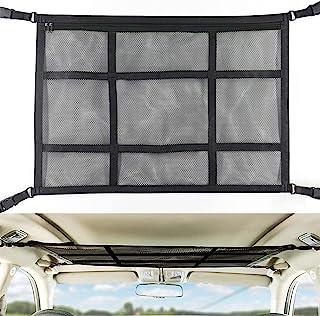 SUV *汽车天花板储物网(更多负载,下野鹿),汽车露营储物袋配件,双层网眼汽车屋顶储物收纳架,用于帐篷推杆衣服玩具杂物(黑色)