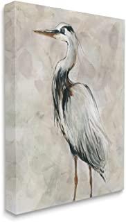 Stupell Industries Crane Bird Portrait Look Left 中性水彩画,由 Carol Robinson 帆布墙画,40.64 x 50.84 厘米,灰色