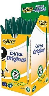 BIC Cristal原始圆珠笔中号(1.0毫米)–绿色,每盒50只