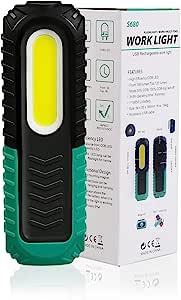 LED 工作灯,Nccablt COB 可充电工作灯,带磁性底座 3 种模式 LED 手电筒检查灯,适用于汽车维修、家庭和户外露营灯,应急手电筒