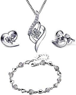 Love Heart 珠宝套装银色项链银耳环银手链紫水晶蓝色透明天使 Tianyu 套装水晶心形银色吊坠项链 + 耳钉套装送给女士女孩的礼物带首饰盒银色链