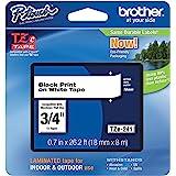 Brother 兄弟 P-touch TZE-241 胶带 1.8 厘米 标准层压 P-touch 胶带 黑色 白色 适…