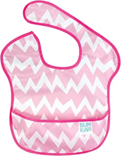 Bumkins 不沾油婴儿围嘴 吃饭用防水围兜 柔软轻便 可机洗 速干 适合 6-24 个月使用 [対象] 6ヶ月 ~ 24ヶ月 Pink Chevron(粉色) 幅25.4cm×長さ(首から下)23cm