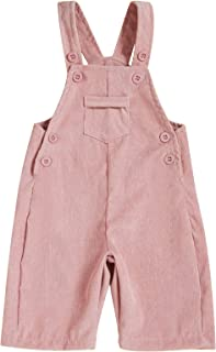 ZOELNIC 幼童女婴男孩整体灯芯绒纯色围兜裤背带长裤带口袋衣服